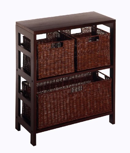 Winsome Wood Leo Wood 3 Tier Shelf  3 Rattan
