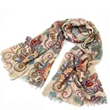 niceeshop(TM) Beige Porcelain Pattern Gaze De Paris Scarf Wrap Silk Scarves