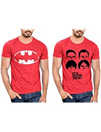 T Shirt For Men & Boys Graphic Round Neck Half Sleeve Combo Of 2_Slim Fit_100% Cotton_Casual T Shirt_graphic Printed_T-Shirts... - B01M28TS79
