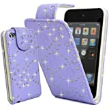 Ipod Touch 5 5th Gen Purple PU Leather Stylish Crystal Diamond Bling Flip Case Cover By Connect Zone�
