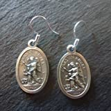 Guardian Angel medal dangly drop earrings sterling silver hooks 2cm Christian