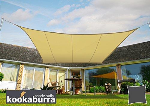 Kookaburra 3,0m Quadrat Sandfarben Gewebtes Sonnensegel (Wasserfest)