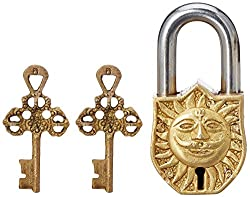 Purpledip Padlock with Surya/Sooraj Dev (Sun God) Relief Sculpted in Brass (10329)