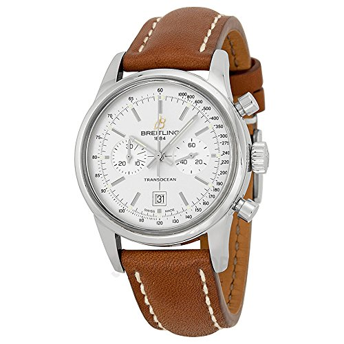 Breitling Transocean Chronograph 38 Brown Leather Mens Watch A4131012-G757BRLT