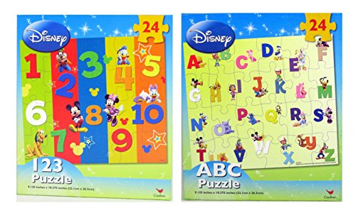 2 Pack Duo Disney Learning 123 & ABC Jigsaw Puzzle - 24 Piece