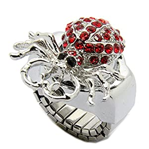E-Future Alloy Spider Red Rhinestone Clamshell Style Unisex Quartz Ring Watch