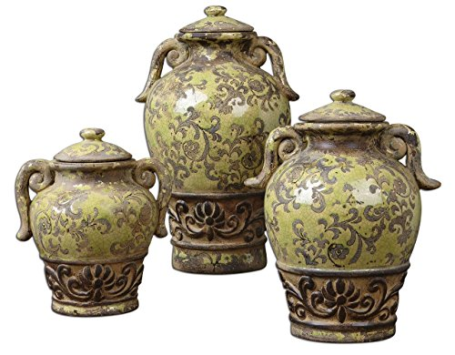 Art Pottery Ceramic Urn Containers | Distressed Green Scroll Set (Decorative Ceramic Urns compare prices)