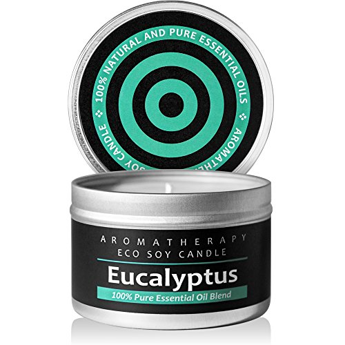 Scented Candles (Eucalyptus) Soy Wax Aromatherapy Candle - Made in the USA with Pure Essential Oil and Natural Ingredients. 50 Hours Burn Time