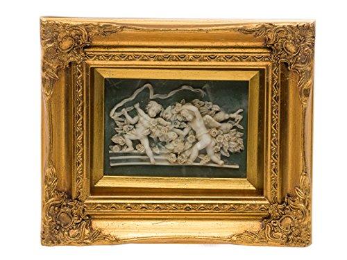 Tableau en relief avec cadre - 2 angelots - style antique - imitation albâtre - 26 x 31 cm
