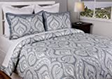 Jovi Home 3-Piece 86 by 86-Inch Parker Duvet Cover Set Queen Grey/White