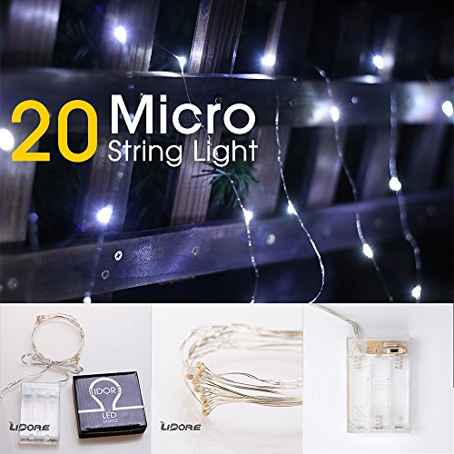 LIDORE Micro LED 20 Cold White Lights with Timer, Battery Operated on 7.87ft Long Silver Color Ultra Thin Copper Wire