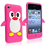 For Apple Ipod Touch 4 4th Gen Cute Hot Pink Penguin SOFT Protective Case Skin Cover Generation