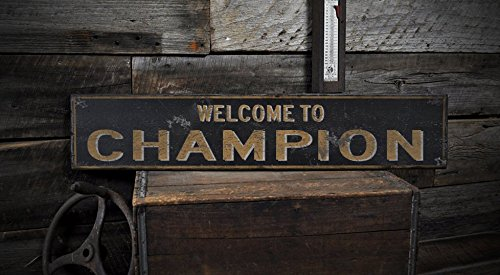 Welcome to CHAMPION, OHIO - Rustic Hand-Made Vintage US City Wooden Sign - 5.5 x 24 Inches (Welcome To The City Of Champions compare prices)