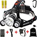 EMIDO Headlamp LED Flashlight for Camping, Runn4 Modes LED Headlamps 3 CREE XM-L T6 LED 6000 Lumens Headlamp LED Flashlight for Camping, Running, Hiking, Reading, Battery Powered Helmet Light, Hands-free Camping Headlight