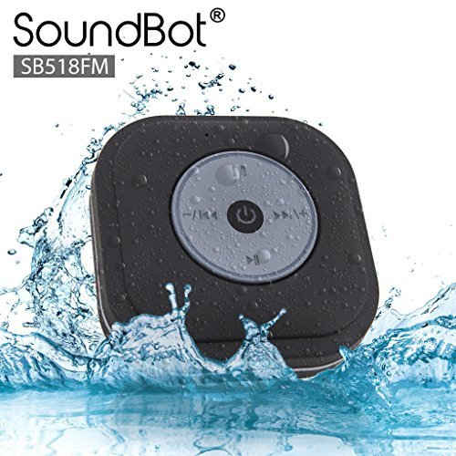 New SoundBot® SB518FM FM RADIO Water Resistant Bluetooth Wireless Shower Speaker Hands-Free Portabl...
