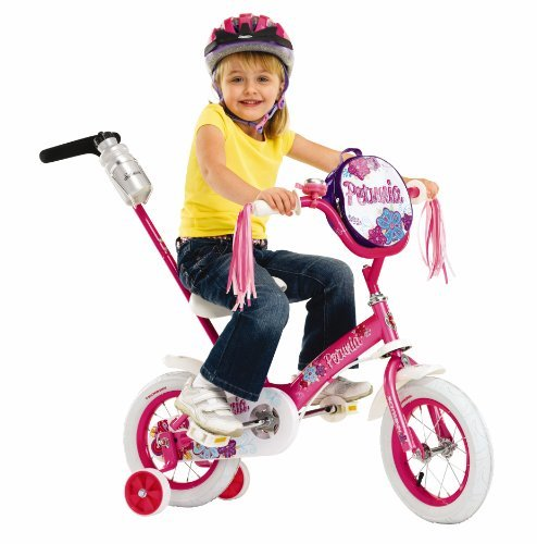 Educational Products - Schwinn Girls' 12-Inch Petunia Bike - Parent push handle that actually steers the bike and can be removed easily when child is riding along