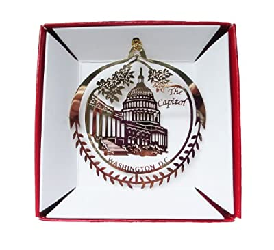 Capitol Building Washington D.C. Christmas ORNAMENT Brass Travel Gift Souvenir
