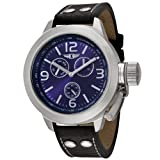 I By Invicta Mens 70113-004 Multi-Function Stainless Steel Black Leather Watch