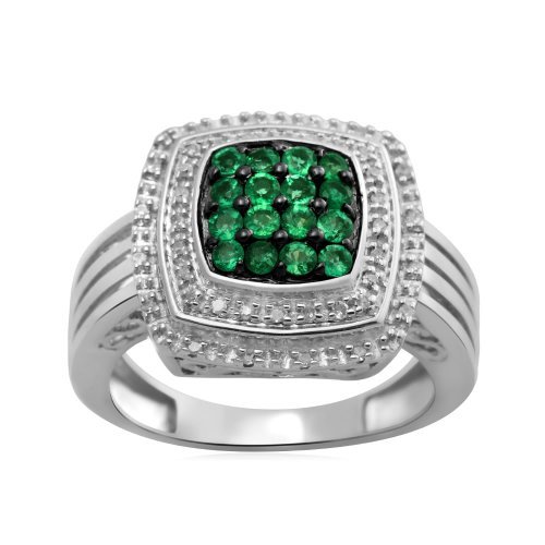 Jewelili Sterling Silver Ring with Genuine Zambian Emerald and 1/10 cttw Diamond