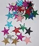 Mix color] 48 Fabric Glitter 15mm Stars Iron-On