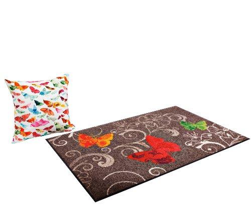 Salonloewe Fußmatte Schmetterling taupe Größe 75×120 cm