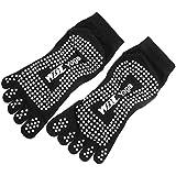 Housweety a Pair Pilates Fitness Yoga Socks Five Toe Rubberized Anti-slip Super Grip Socks