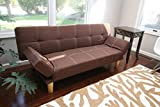 Home Life Anderson Futon Sofa Bed with Adjustable Arm Rests Brown Linen