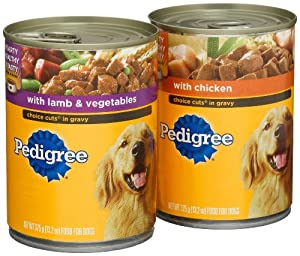 Pedigree Choice Cuts Variety Pack (with Chicken, with Lamb & Vegetables) Food for Dogs, 13.2-Ounce Cans (Pack of 24)