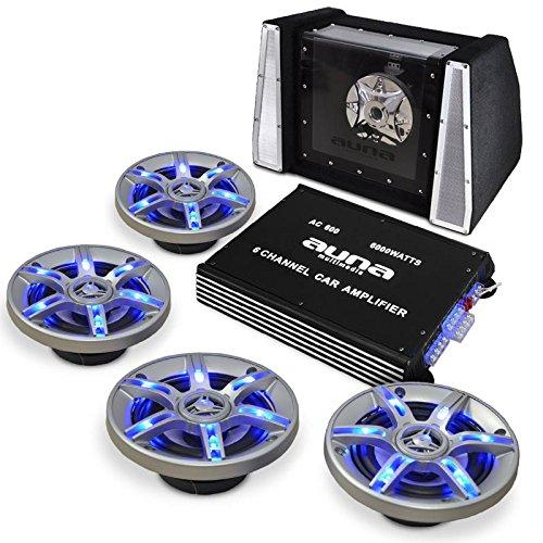 Car-Hif-Autolautsprecher-Set-BeatPilot-FX-411-6000W-Auto-Verstrker-mit-4-Boxen-Subwoofer-2100-Watt-inkl-Kabel-Set-6-Kanal-Endstufe-LED-Lichteffekte