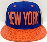 Blue & Orange New York Dinosaur Skin Snapback Hat Cap