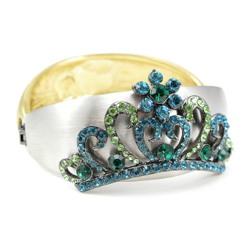Perfect Gift - High Quality Elegant Crown Bangle with Blue and Green Swarovski Crystal (1642) for Birthday Anniversary Free Standard Shipment Clearance