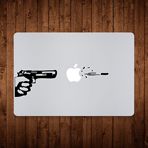 Engrave Apple Shot Vinyl Macbook Decal Black