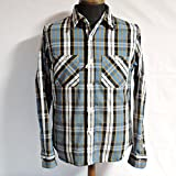 COLIMBO KANVASBAK FLEMINGTON SHIRTS #03070 コリンボ ネルシャツ (L, 青/白)