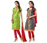 Manthan Present 2 Pieces Combo Green , Gray Embroidered Un Stitched Straight Suit MNT3ASG3002-08