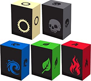 Set of 5 New Legion Iconic Deck Boxes for Magic/Pokemon/YuGiOh Cards (Incl. Red, Blue, Green, Black and White)