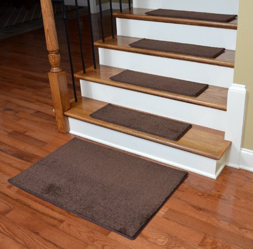 "Dean DIY 27"" x 9"" Imperial Carpet Stair Treads with Landing Mat - Color: Walnut"