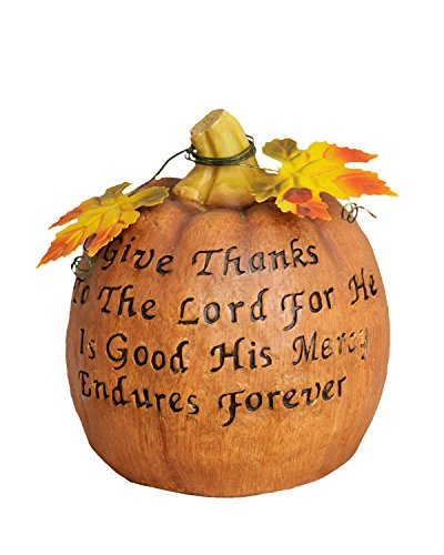 Your Hearts Delight Give Thanks to The Lord Tin Leaves Pumpkin, 7-1/2 by 6-1/2-Inch