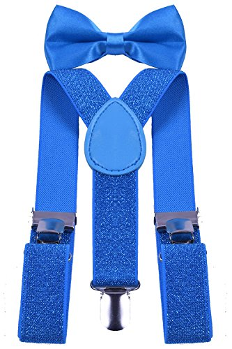 BODY STRENTH Kids Boys Girls Suspenders Strong Clips With Bow tie Set 1Blue (Glitter Suspenders)