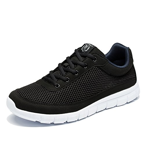 NDB Men's Casual Lightweight Lace-Up Fashion Sneakers Breathable Athletic Walking Shoes (8.5 D(M) US, Black)