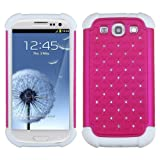 MYBAT ASAMSIIIHPCTDEF208NP Total Defense Dazzling Lattice Design Case for Samsung Galaxy SIII - 1 Pack - Retail Packaging - Hot Pink/Solid White