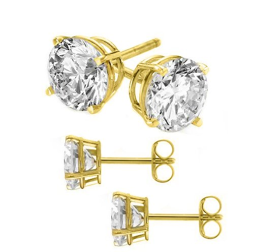 Authentic 925 Yellow 14 Karat Gold Sterling Silver 2.00 Carat Round Diamond Cubic Zirconia Studs. 1.00 Carat Each Stone