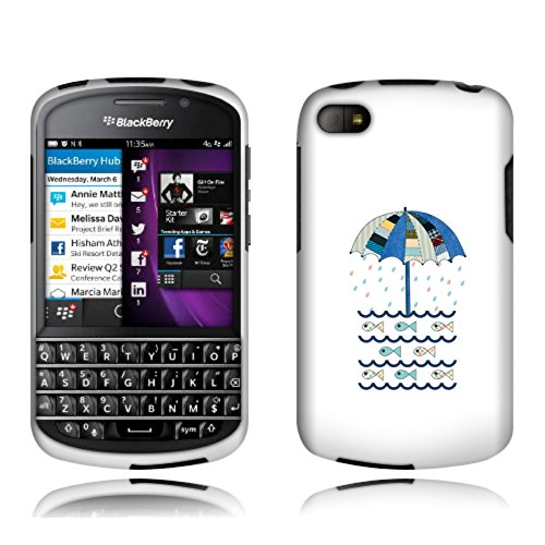 Fincibo (Tm) Blackberry Q10 Protector Cover Case Snap On Hard Plastic - Umbrella And Fish, Front And Back