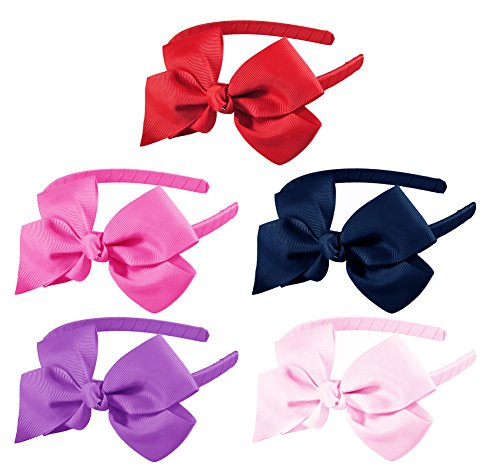 "HipGirl Boutique Girls Women Interchangable Hair Bow and Headband Set (10pc Solid 4.5"" Pinwheel Bow Headbands-a015)"
