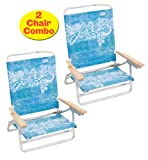 High Back Rio Beach Chair - 5 position LayFlat - Set of 2 Chairs Rio Colors SC: 2 Chairs - Flower 133