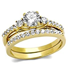 buy Round Cut Cubic Zirconia Gold Plated Stainless Steel Engagement Wedding Ring Set