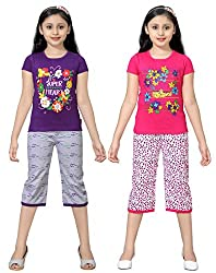 SINIMINI GIRLS PEINTED CUTE CAPRI SET (PACK OF 2)
