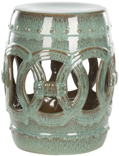 Image of Safavieh Castle Gardens Collection Knotted Rings Ceramic Garden Stool, Blue-Green