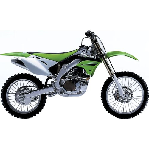 New Ray Kawasaki 2007 KX 450F Replica Motorcycle Toy w/ Free B&F Heart Sticker Bundle - Green / 1:12 Scale