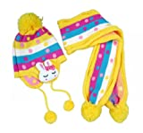 Top Seller Newest Fashion Child Babys Knitted Hat Rabbit Style Flap Cap and Winter Warm Scarf Set (yellow)