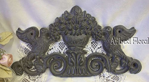 Cast Iron Bird Wall Plaque Picture Topper Gray Dove Floral Urn Decor Fruit front-264837